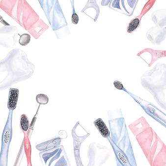 歯科をテーマにした水彩画フレーム。歯科医療の要素
