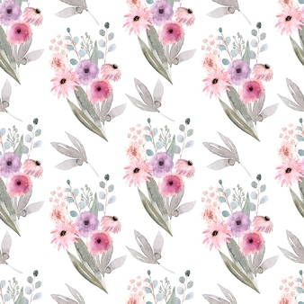 春の花、つぼみ、小枝の葉と水彩のシームレスパターン