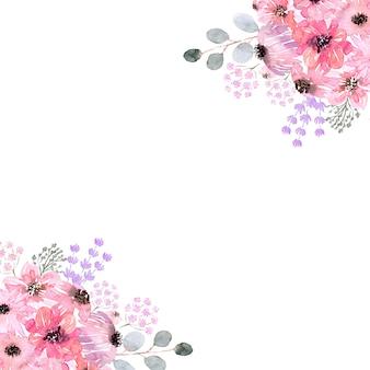 Акварельные цветочные рамки различной формы. цветы, листья и почки.