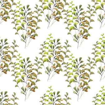 春の花とさまざまな装飾的な葉の水彩のシームレスパターン