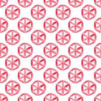 幾何学的なシームレスパターンと水彩