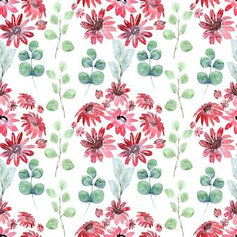春の草花と水彩のシームレスなパターン。赤い花、枝、葉