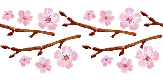Акварель бесшовные границы рисунок с ветвями и вишни