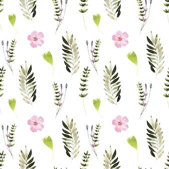 Акварельный фон с весенними цветущими растениями