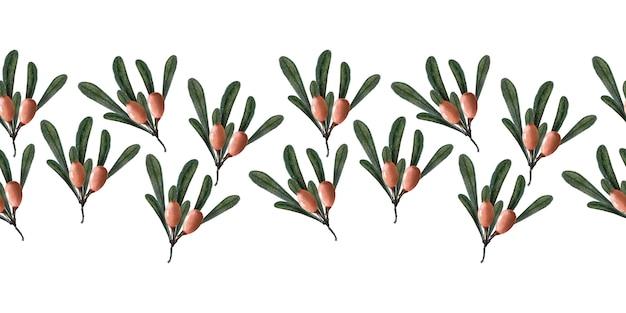 Акварельная рамка с ягодами, ветками и листьями облепихи
