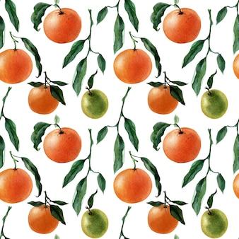 Акварель бесшовный фон из фруктов, веточек и кусочков мандарина