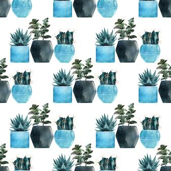 Акварельные бесшовные модели с различными видами кактусов