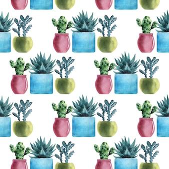 Акварельные бесшовные модели с различными видами кактусов в разноцветных горшках