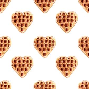 Акварель бесшовные модели с вафлями различной формы. вафли в форме сердца, квадратные вафли
