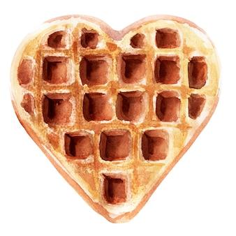 Акварельные иллюстрации с вафли различной формы. вафли с сердцем, квадратные вафли и круглые вафли