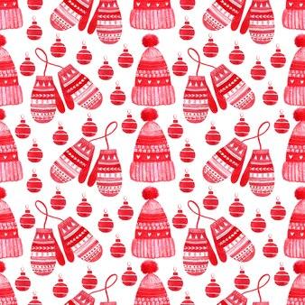 冬のセーター、帽子、ミトンとのシームレスなパターン