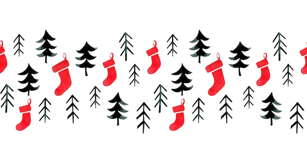 松の木と靴下と水彩のシームレスな境界線