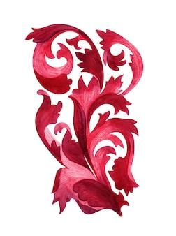 Акварельный рисунок со стилизованными элементами растения аканта