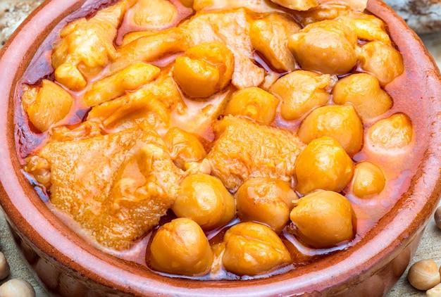 土鍋で胃袋とひよこ豆。