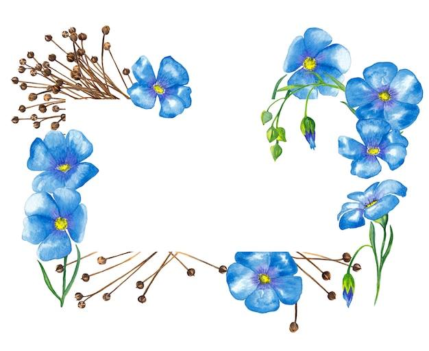 亜麻のエレガントなフレームには、シードボックスと亜麻の花が付いています。水彩イラスト。
