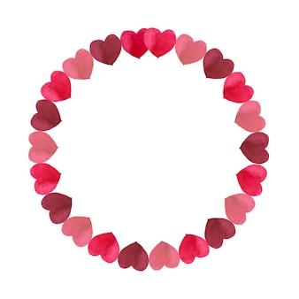 Круглая рамка из простых красных оттенков сердца на день святого валентина. акварельные иллюстрации