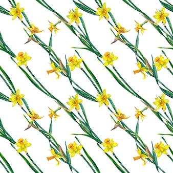 Бесшовный фон из реалистичных желтых нарциссов на стеблях с листьями. акварельные иллюстрации