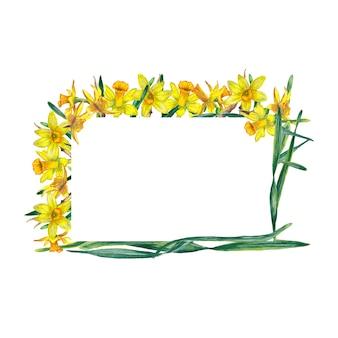 Прямоугольная рамка из реалистичных желтых нарциссов и зеленых листьев. акварельные иллюстрации