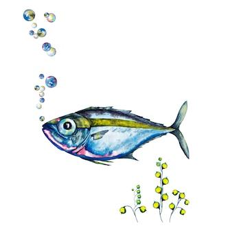 大きな目の青い魚、海藻、気泡のイラスト。水彩イラスト。
