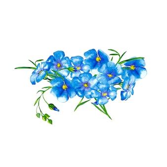 緑の茎と芽を持つ現実的な青い亜麻の花の楕円形の花束。水彩画。