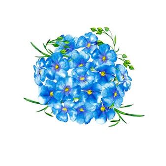 緑の茎と芽の青い亜麻の花の丸い花束。水彩画。
