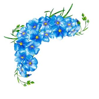 緑の茎とつぼみを持つ青い亜麻の花の花束の縁。水彩画。