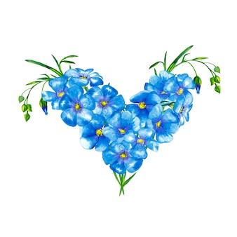 緑の茎と芽の青い亜麻の花のハート形の花束。水彩画。