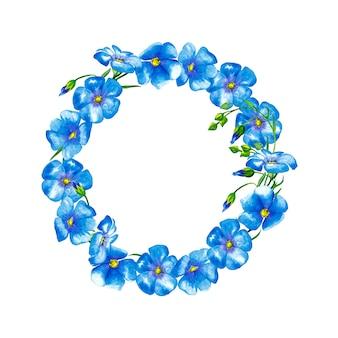 青い亜麻の花とつぼみのラウンドフレーム。水彩画。