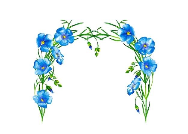 茎と芽と青い亜麻の花のアーチフレーム。水彩画。