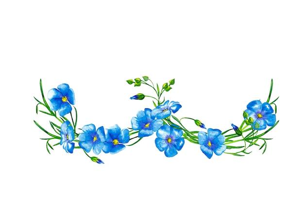 茎とつぼみを持つ青い亜麻の花のガーランド。水彩画。