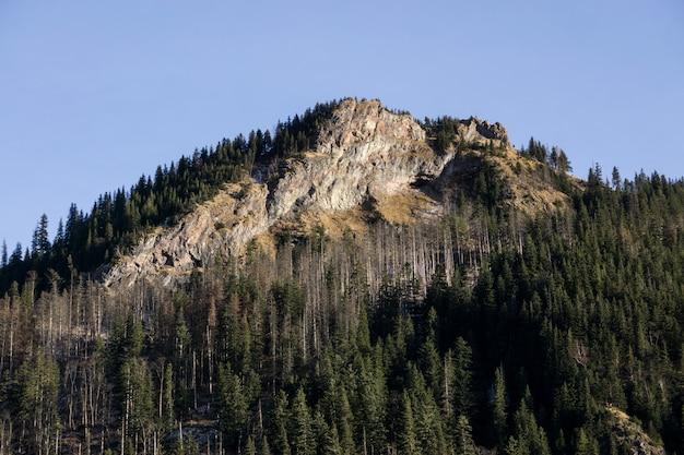 青い空を背景に大きな山の崖