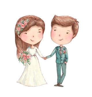 Жених и невеста, улыбаясь с цветами