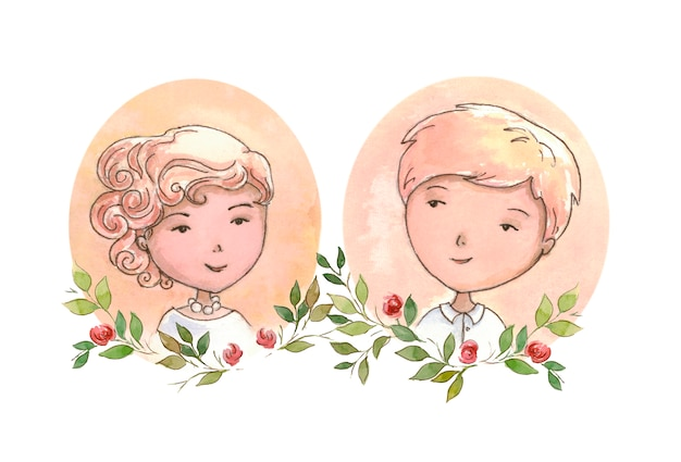 結婚式の招待状の肖像画