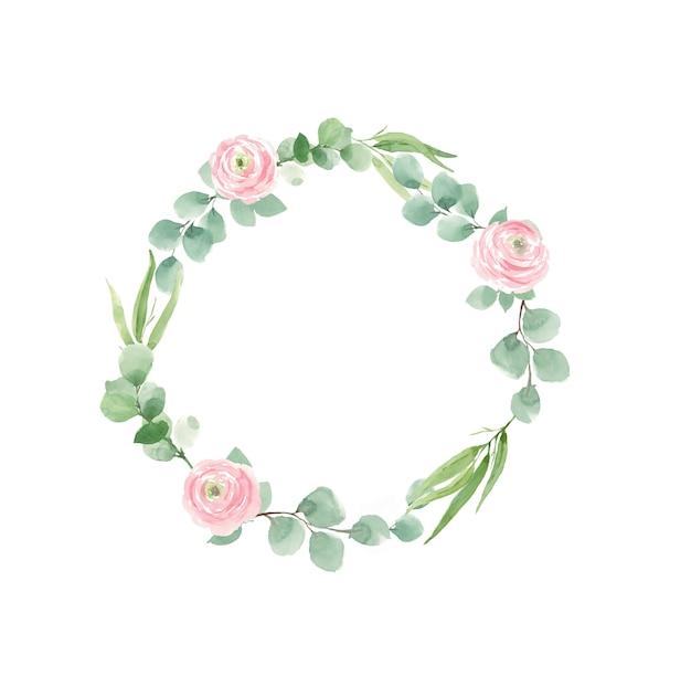結婚式の招待状のバラと緑の葉の花輪