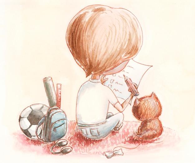 Мальчик планирует новые мечты проверить лист, акварель