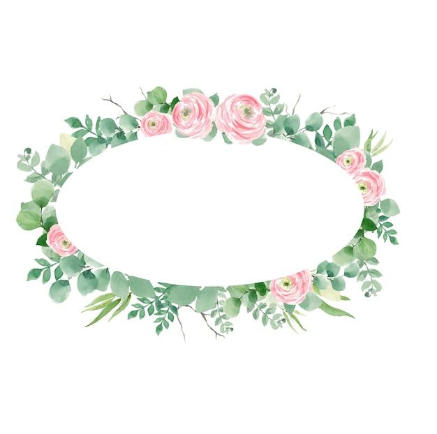 バラの花輪と結婚式招待状、楕円形の葉