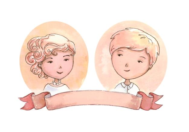 リボンの肖像画での結婚式の招待状