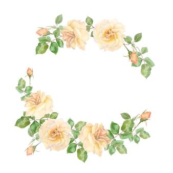 クリーム色のバラとつぼみの花輪