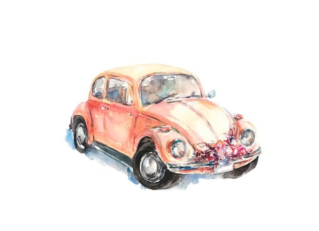 Свадебный цветок украшенный автомобиль, акварель