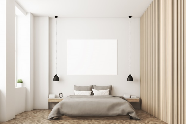 写真と木製の壁の寝室