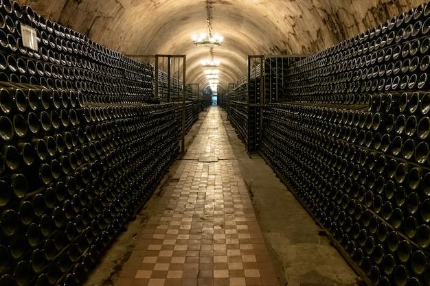 熟成したワインボトルがたくさんある長いアンティークセラー