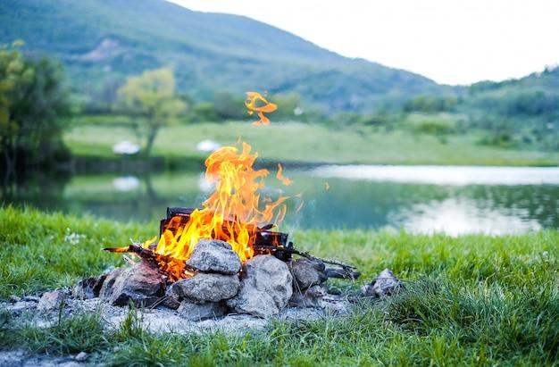 湖の自然の中で燃える火火の残り火。たき火で石炭を燃やす。