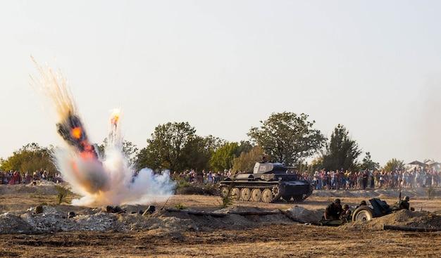 戦場。第二次世界大戦の戦いの復興。セヴァストポリの戦い。爆発による戦闘の再構築