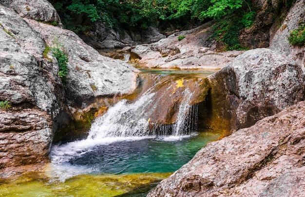 Пейзаж горных рек в лесу