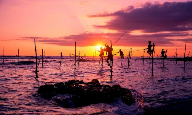 Традиционные рыбаки в шри-ланке