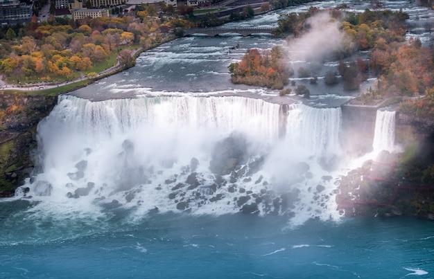 ナイアガラの滝の空撮。
