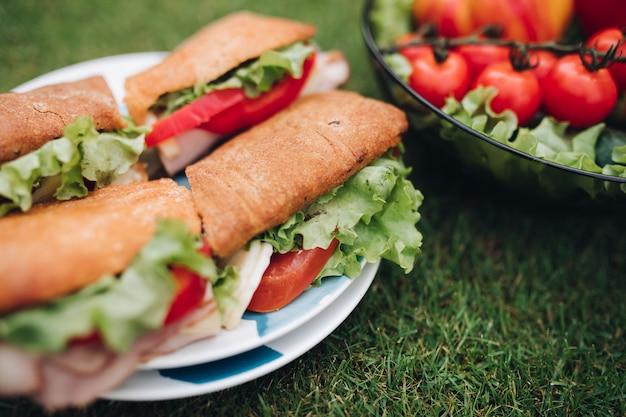 Бутерброды с помидорами, луком и листьями салата на тарелке