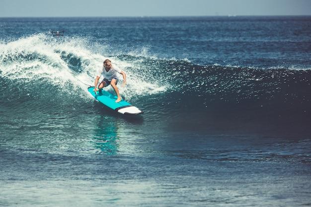 Мужчины и девушки занимаются серфингом