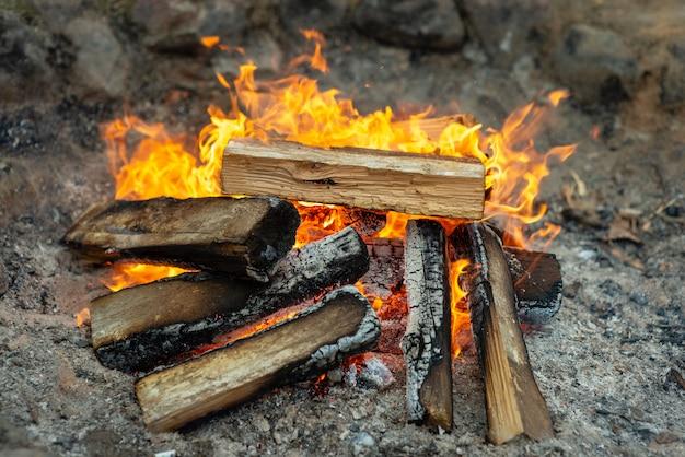 バーベキューの準備ができている木がたくさんある暖かい暖炉。