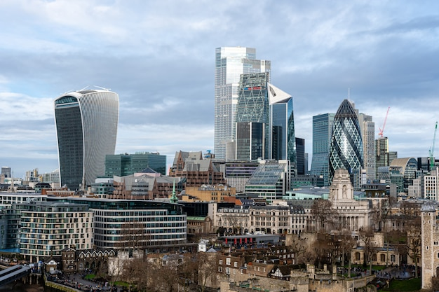 イギリスのロンドンの金融街で有名なスカイスカーパー